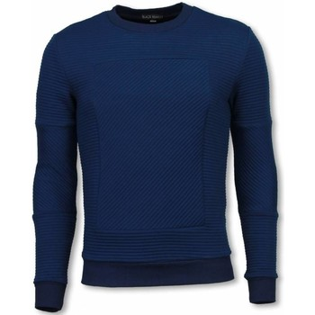 Textiel Heren Sweaters / Sweatshirts Bn8 Black Number 3D Ribbel Square Crewneck- Sweater - Blauw