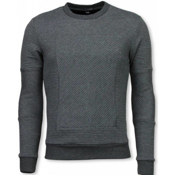 Textiel Heren Sweaters / Sweatshirts Bn8 Black Number 3D Ribbel Square Crewneck - Sweater - Grijs