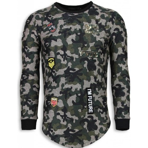 Textiel Heren Sweaters / Sweatshirts John H 23th US Army Camouflage Shirt - Long Fit Sweater Groen