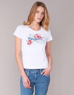 Textiel Dames T-shirts korte mouwen Pepe jeans AMBER Wit