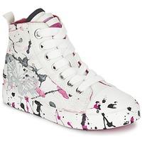 Schoenen Meisjes Hoge sneakers Geox J CIAK G. C Wit / Roze
