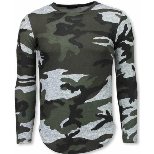 Textiel Heren T-shirts korte mouwen Justing Leger Print Borduur Long Sleeve Groen