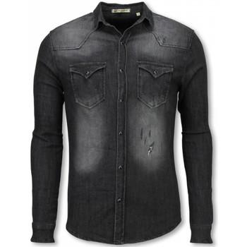 Textiel Heren Overhemden lange mouwen Enos Denim Overhemd - Slim Fit Lange Mouwen Heren - Washed 35