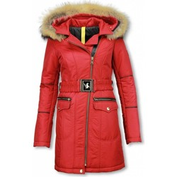 Textiel Dames Parka jassen Milan Ferronetti Lange Winterjas met Bontkraag Dames - Vrouwen winter parka jas 8
