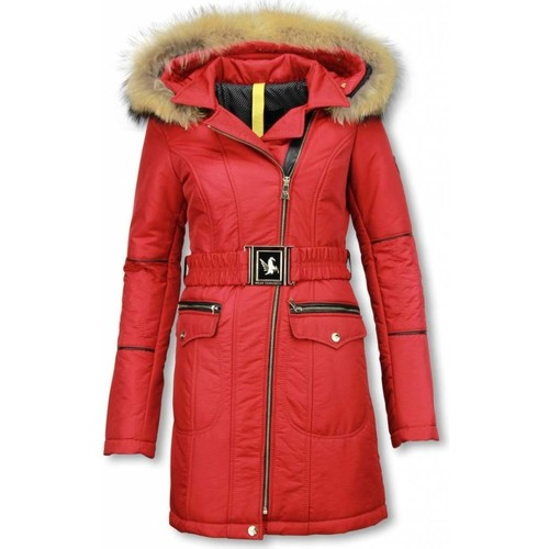 Textiel Dames Parka jassen Milan Ferronetti Winterjas Bontkraag Winter Parka Jas Rood
