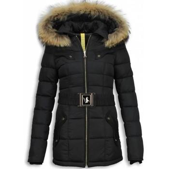 Textiel Dames Dons gevoerde jassen Milan Ferronetti Lange Dames Winterjassen met Bontkraag