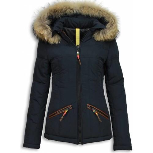 Textiel Dames Dons gevoerde jassen Milan Ferronetti E Winterjas Bontkraag Blauw