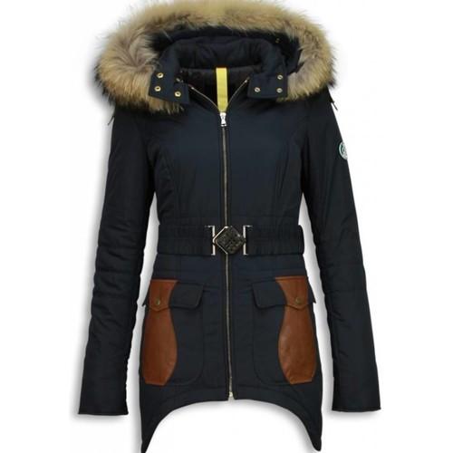 Textiel Dames Dons gevoerde jassen Milan Ferronetti Winterjassen Winterjas  Abstract Riem Leerstukken Zwart