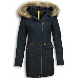 Textiel Dames Dons gevoerde jassen Milan Ferronetti Winterjassen Bontkraag Parka Jas Blauw