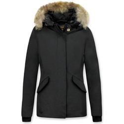 Textiel Dames Dons gevoerde jassen Beluomo Bontjassen - Dames Winterjas Wooly Kort - Kleine Bontkraag -N 38
