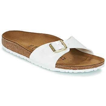 Schoenen Dames Leren slippers Birkenstock MADRID Wit / Goud