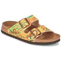 Schoenen Dames Leren slippers Papillio ARIZONA Geel / Groen