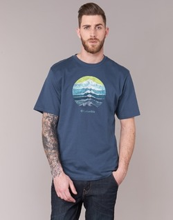 Textiel Heren T-shirts korte mouwen Columbia CSC MOUNTAIN SUNSET Blauw