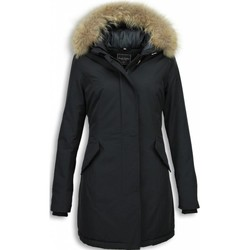 Textiel Dames Parka jassen Gentile Bellini Bontjassen Winterjas Wooly Lang Large Bontkraag Zwart