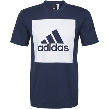 Textiel Heren T-shirts korte mouwen adidas Performance Essentials Box Logo T-shirt Donkerblauw