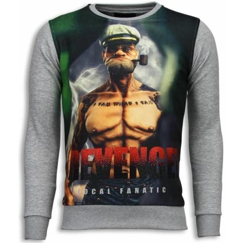 Textiel Heren Sweaters / Sweatshirts Local Fanatic Popeye Revenge Digital Rhinestone Licht Grijs