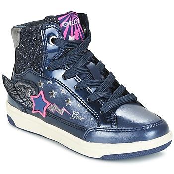 Schoenen Meisjes Hoge sneakers Geox J CREAMY A Marine / Roze
