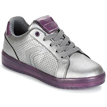 Schoenen Meisjes Lage sneakers Geox J KOMMODOR G.A Zilver / Pruim