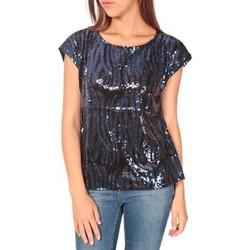 Textiel Dames T-shirts korte mouwen Tcqb Top 23171 paillettes Julie GG Noir/Bleu Zwart
