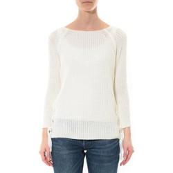 Textiel Dames Truien De Fil En Aiguille Pull Lacets Blanc Wit