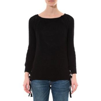 Textiel Dames Truien De Fil En Aiguille Pull Lacets Noir Zwart