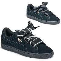Schoenen Dames Lage sneakers Puma Basket Heart Satin Zwart