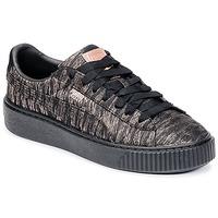 Schoenen Dames Lage sneakers Puma Basket Platform Bi Color Zwart / Roze