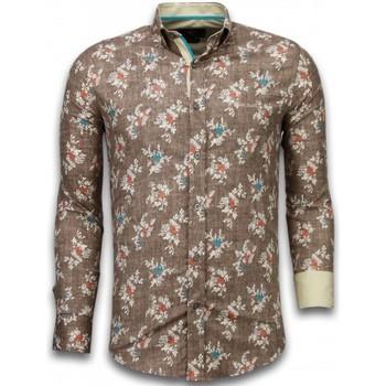 Textiel Heren Overhemden lange mouwen Tony Backer Italiaanse Overhemden - Slim Fit -  Woven Flowers Pattern - Bruin