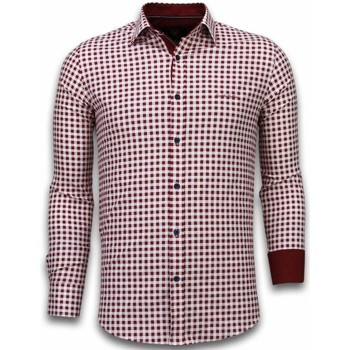 Textiel Heren Overhemden lange mouwen Tony Backer Italiaanse Overhemden - Slim Fit -  Garment Pattern - Rood