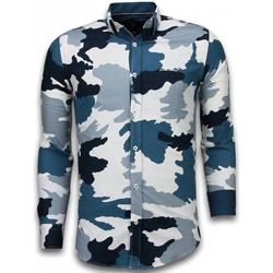 Textiel Heren Overhemden lange mouwen Tony Backer Italiaanse Overhemden - Slim Fit -  Classic Army Pattern - Blauw