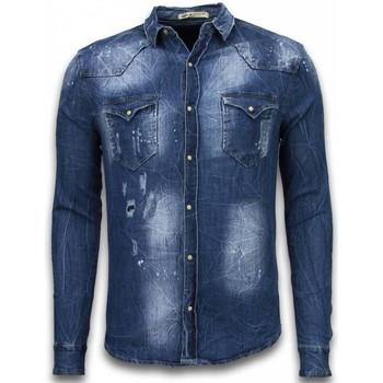 Textiel Heren Overhemden lange mouwen Enos Denim Shirt - Spijker Slim Fit Long Sleeve - Vintage Look - Blauw