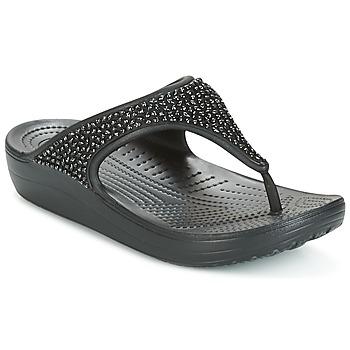 Schoenen Dames Teenslippers Crocs SLOANE Zwart
