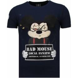 Textiel Heren T-shirts korte mouwen Local Fanatic State Prison Rhinestone Blauw