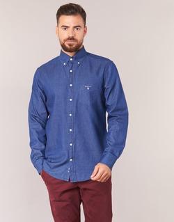 Textiel Heren Overhemden lange mouwen Gant THE INDIGO SHIRT Blauw