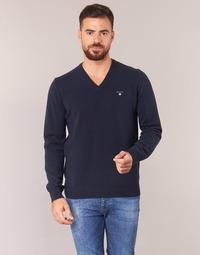 Textiel Heren Truien Gant SUPER FINE LAMBSWOOL V-NECK Marine