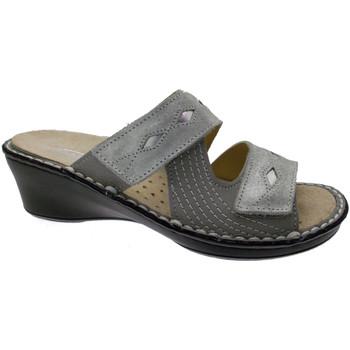 Schoenen Dames Leren slippers Calzaturificio Loren LOM2653gr grigio