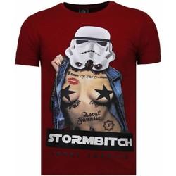 Textiel Heren T-shirts korte mouwen Local Fanatic Stormbitch - Rhinestone T-shirt Bordeaux