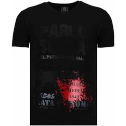 Textiel Heren T-shirts korte mouwen Local Fanatic Pablo Escobar Narcos - Rhinestone T-shirt 38