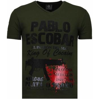 Textiel Heren T-shirts korte mouwen Local Fanatic Pablo Escobar Narcos - Rhinestone T-shirt 25