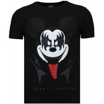 Textiel Heren T-shirts korte mouwen Local Fanatic Kiss My Mickey - Rhinestone T-shirt 38