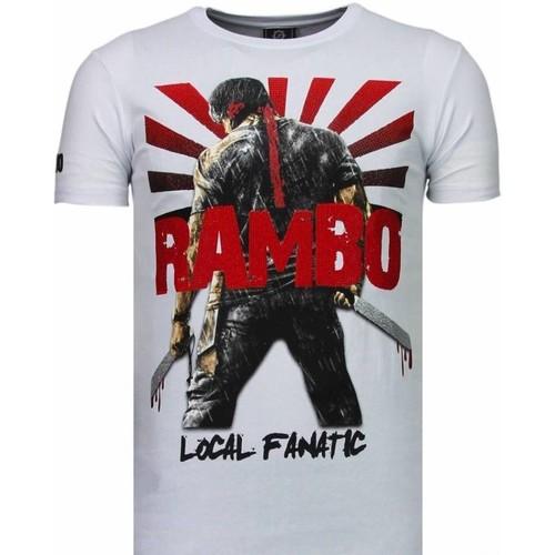 Textiel Heren T-shirts korte mouwen Local Fanatic Rambo Shine Rhinestone Wit