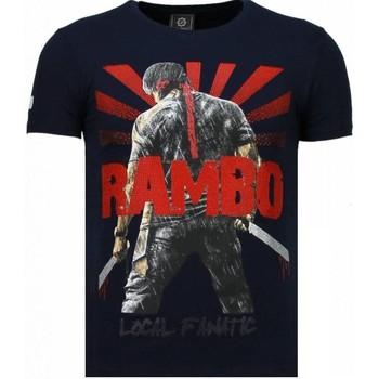 Textiel Heren T-shirts korte mouwen Local Fanatic Rambo Shine - Rhinestone T-shirt Blauw