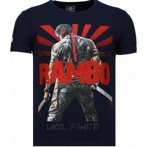 Textiel Heren T-shirts korte mouwen Local Fanatic Rambo Shine Rhinestone Blauw