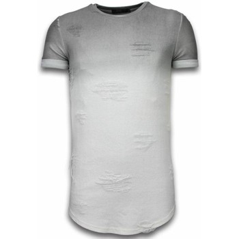 Textiel Heren T-shirts korte mouwen Justing Flare Effect T-shirt - Long Fit -Shirt Dual Colored - Wit, Grijs