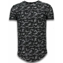 Textiel Heren T-shirts korte mouwen Justing Fashionable Camouflage T-shirt - Long Fit -Shirt Army Pattern - Zwart