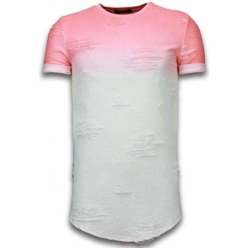 Textiel Heren T-shirts korte mouwen John H Flare Effect T-shirt - Long Fit Shirt Dual Colored Rood