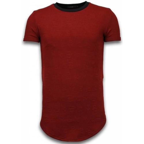 Textiel Heren T-shirts korte mouwen John H 3D Encrypted T-shirt - Long Fit Shirt Zipped Rood