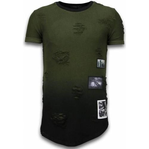 Textiel Heren T-shirts korte mouwen Justing Pictured Flare Effect Long Fi Dual Ed Groen