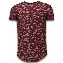 Textiel Heren T-shirts korte mouwen Justing Fashionable Camouflage T-shirt - Long Fit -Shirt Army Pattern - Bordeaux