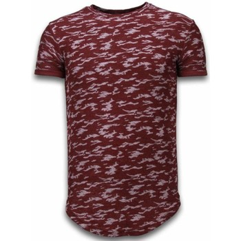 Textiel Heren T-shirts korte mouwen John H Fashionable Camouflage T-shirt - Long Fit Shirt Army Pattern Bordeaux